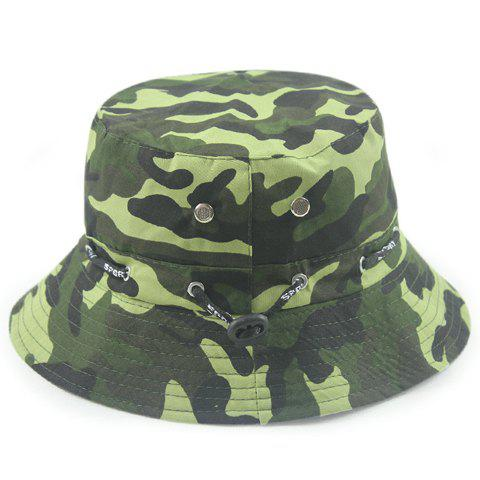 Stylish Letter Print Drawstring Embellished Camouflage Pattern Bucket Hat - ARMY GREEN