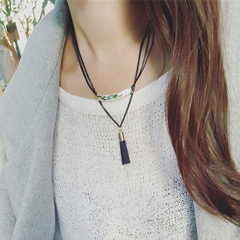 Tassel Double Layered Alloy Pendant Necklace - BLACK