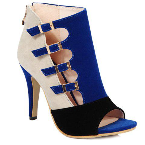 Fashion Color Block et Peep Toe Shoes Boucle de conception de la femme - Bleu Foncé 37