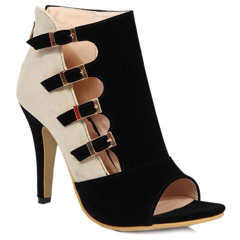 Trendy Color Block and Buckle Straps Design Women's Peep Toe Shoes - BLACK 38