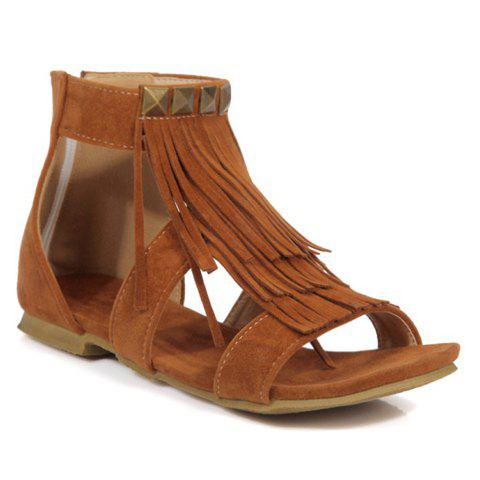 Rome Style Rivets and Fringe Design Women's Sandals - BROWN 36