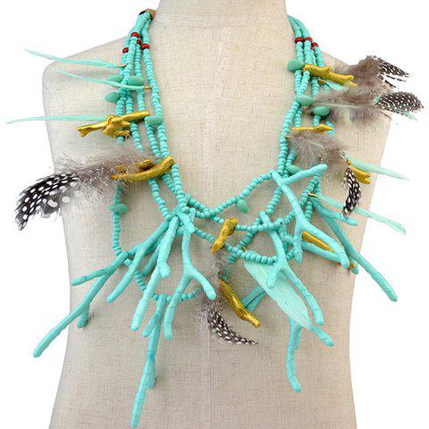 Multilayer Feather Antlers Beads Necklace - GREEN