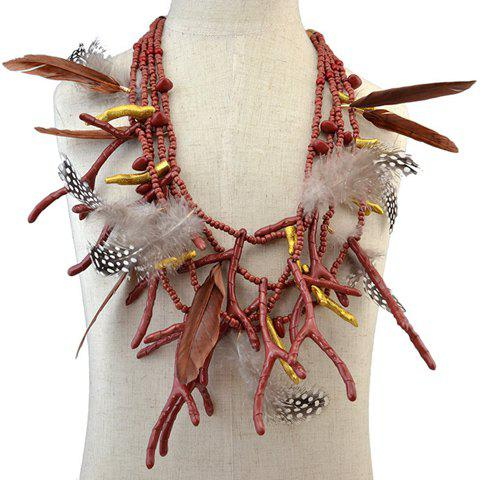 Multilayer Feather Antlers Beads Necklace - BROWN