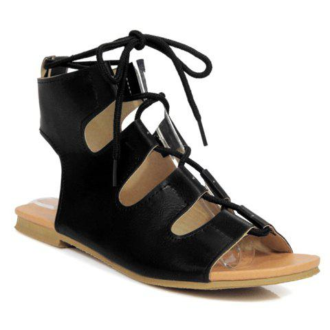 Casual Lace-Up and PU Leather Design Women's Sandals - BLACK 36
