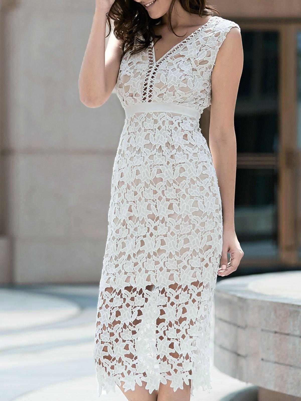 Alluring Plunging Neck Sleeveless Hollow Out Bodycon Women's Slit Dress - WHITE XL