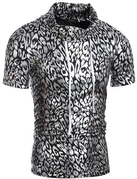 Trendy Turtle Neck Stamping Design Short Sleeve Men's T-Shirt - SILVER L
