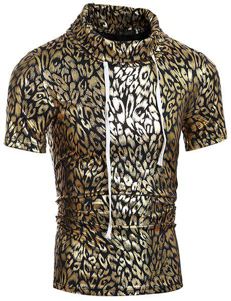 Trendy Turtle Neck Stamping Design Short Sleeve Men's T-Shirt - GOLDEN 2XL