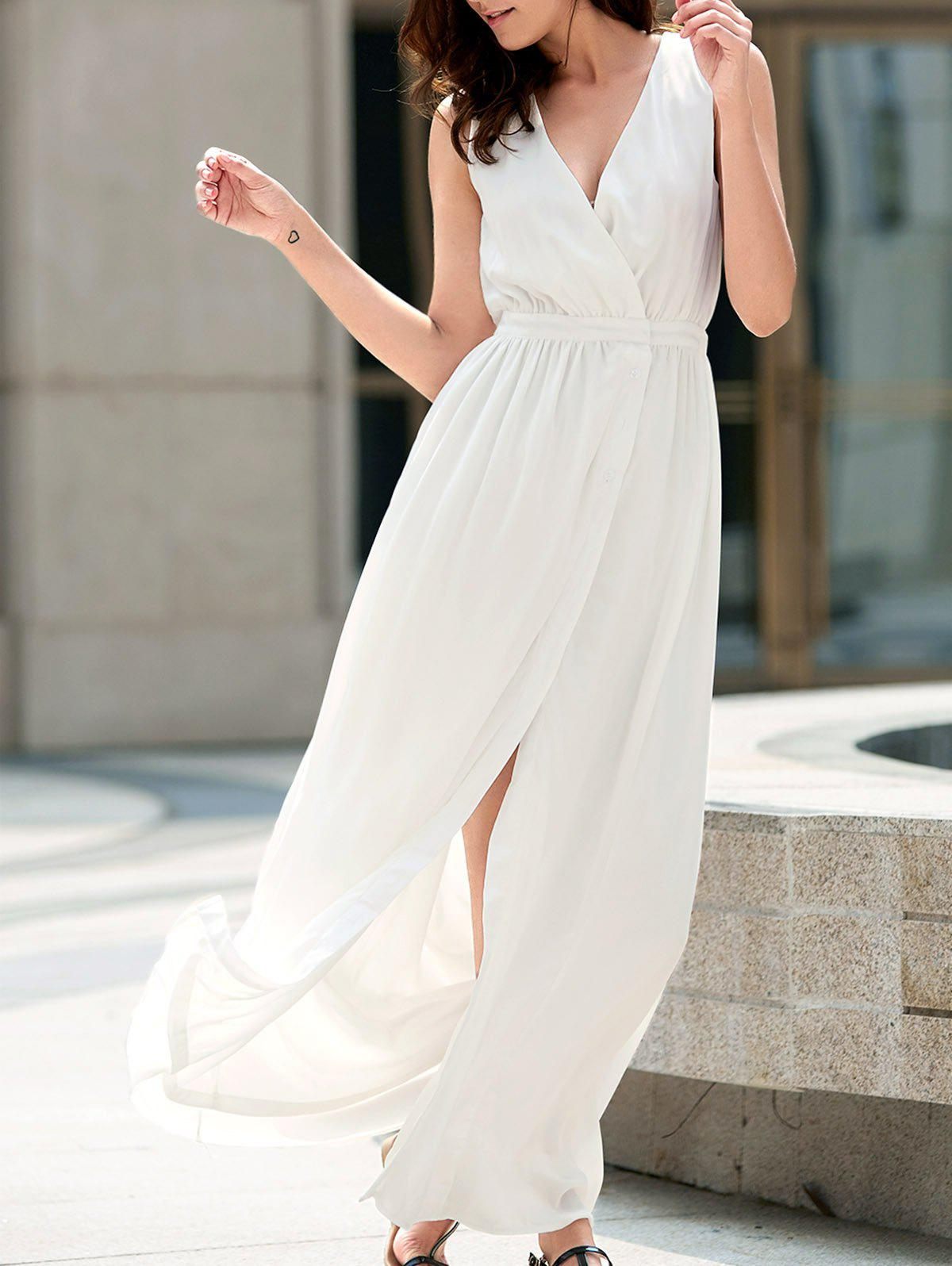 Alluring Plunging Neckline High Slit Sleeveless Maxi Dress For Women