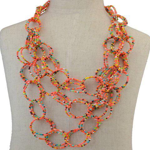 Multilayer Beads Rings Necklace - ORANGE