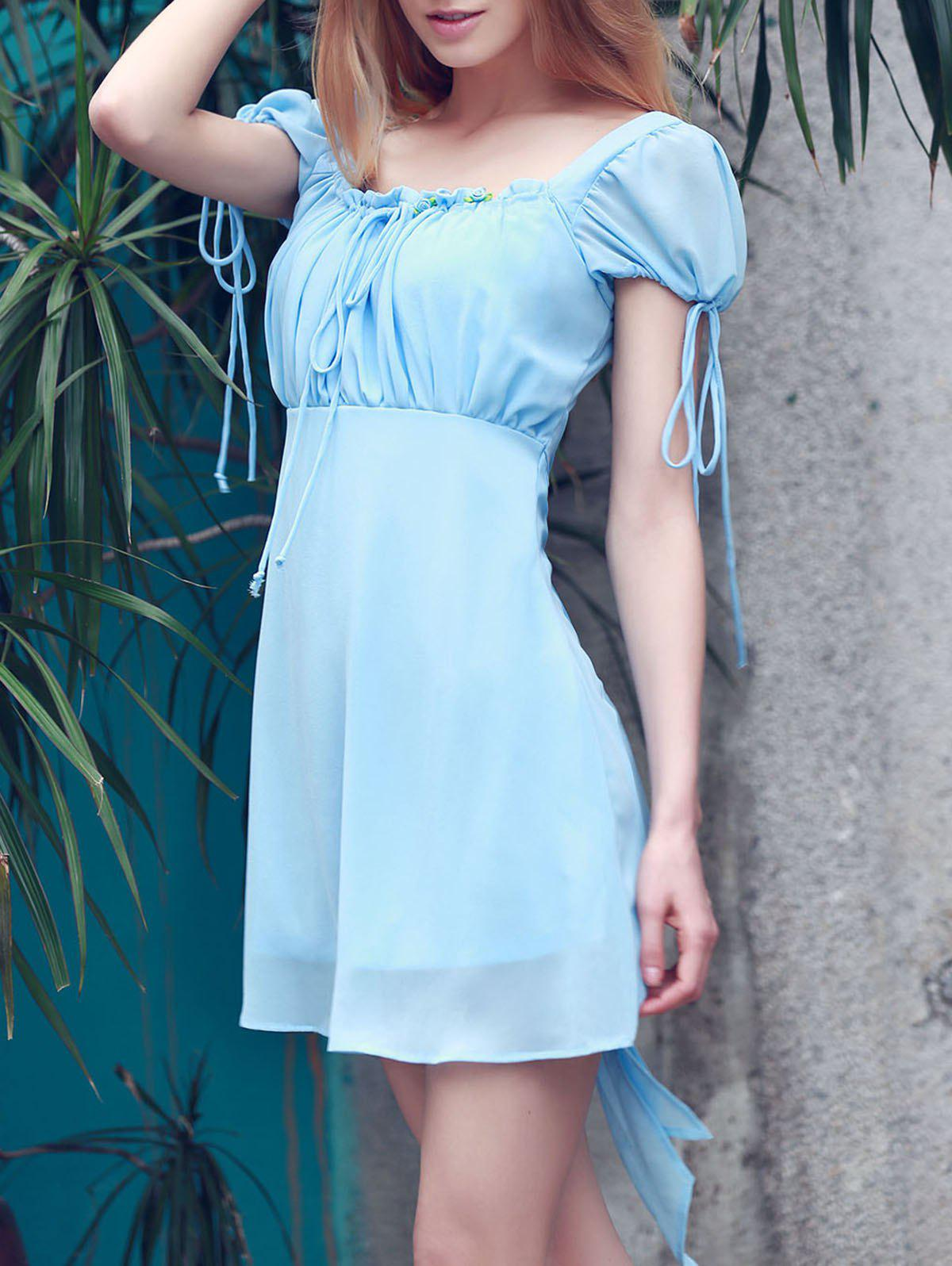 Alluring Women's Square Collar Open Back Self-Tie Short Sleeve Dress - AZURE M