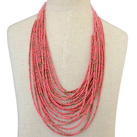Multilayer Beads Chain Necklace - PINK