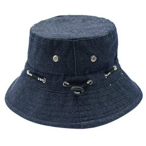 Stylish Letter Print Drawstring Embellished Denim Fabric Bucket Hat - PURPLISH BLUE
