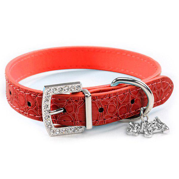 Fashionable Rhinestone Decor Pendant PU Leather Adjustable Dog Collars - RED S