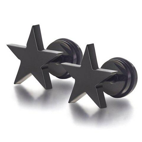 Pair of Vintage Star Earrings For Men - BLACK