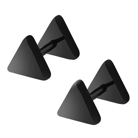 Pair of Delicate Triangle Earrings For Men - BLACK