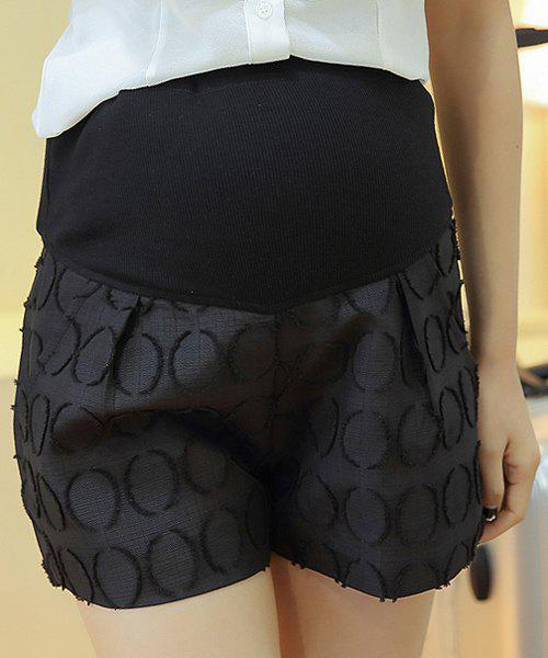 Stylish Elastic Waist Splice Jacquard Design Women's Shorts - BLACK L