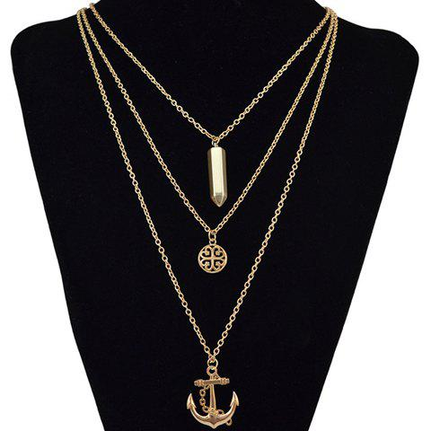 Simple Multilayer Anchor Bullet Alloy Pendant Necklace For Women
