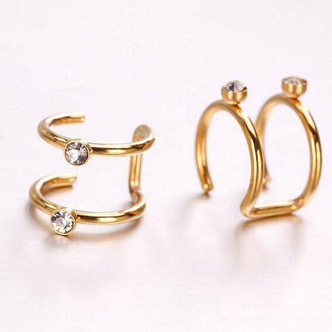 Pair of Punk Style Rhinestone Ear Cuffs - GOLDEN