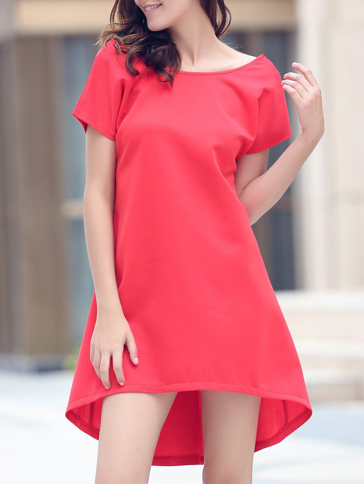 Short Sleeve Asymmetrical Jewel Neck Dress - RED S