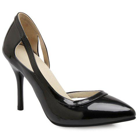 Fashionable Patent Leather and Hollow Out Design Women's Pumps - BLACK 39