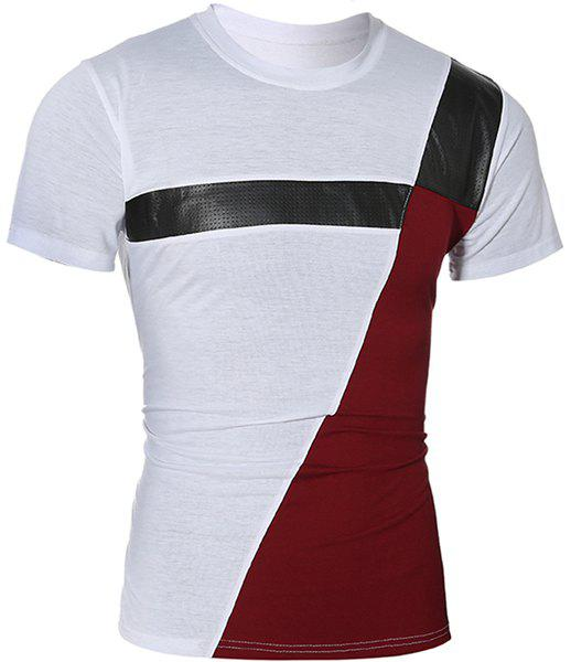 Fashionable Round Neck Color Block PU-Leather Spliced Short Sleeve Men's T-Shirt - WHITE L
