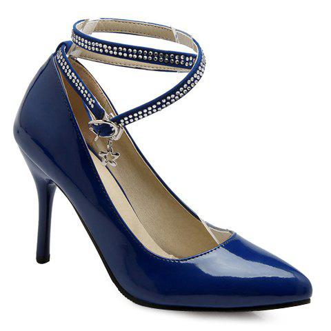 Stylish Rhinestones and Ankle Strap Design Women's Pumps - PURPLISH BLUE 39