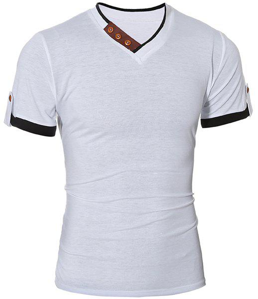 Fashionable V-Neck Color Block Spliced Button Embellished Short Sleeve Men's T-Shirt от Dresslily.com INT