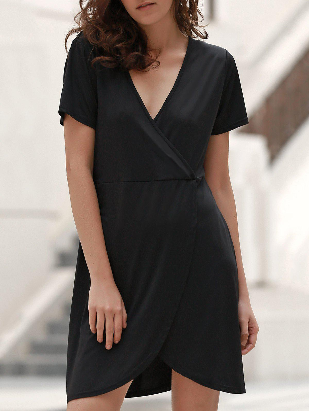 Sweet Style Plunging Neck Short Sleeve Solid Color Women's Wrap Dress - BLACK M