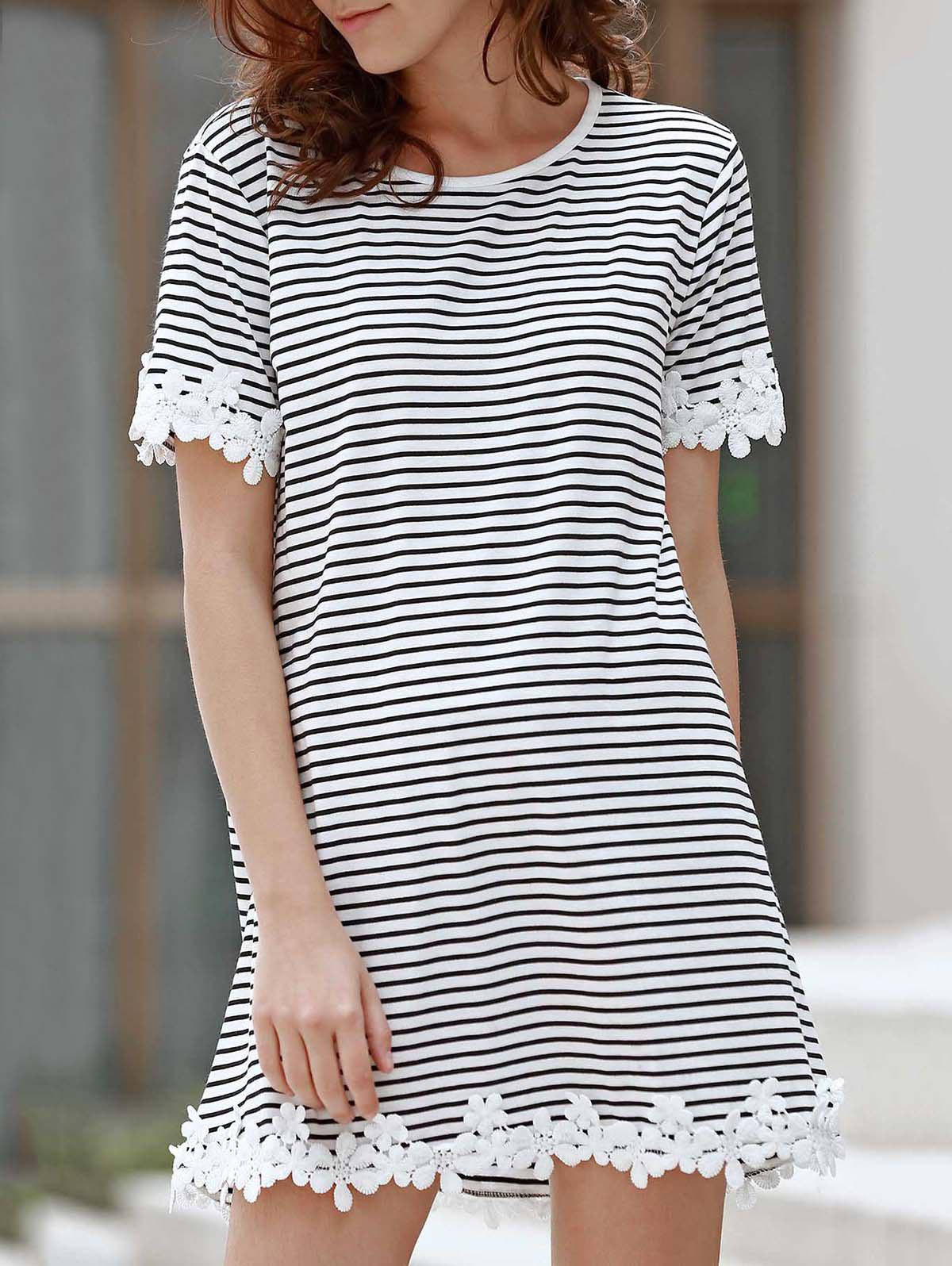 Sweet Style Round Neck Short Sleeve Striped Laciness A-Line Women's T-Shirt - WHITE/BLACK S