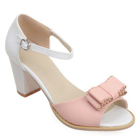 Fashionable Color Block and Bowknot Design Women's Sandals - PINK/WHITE 39