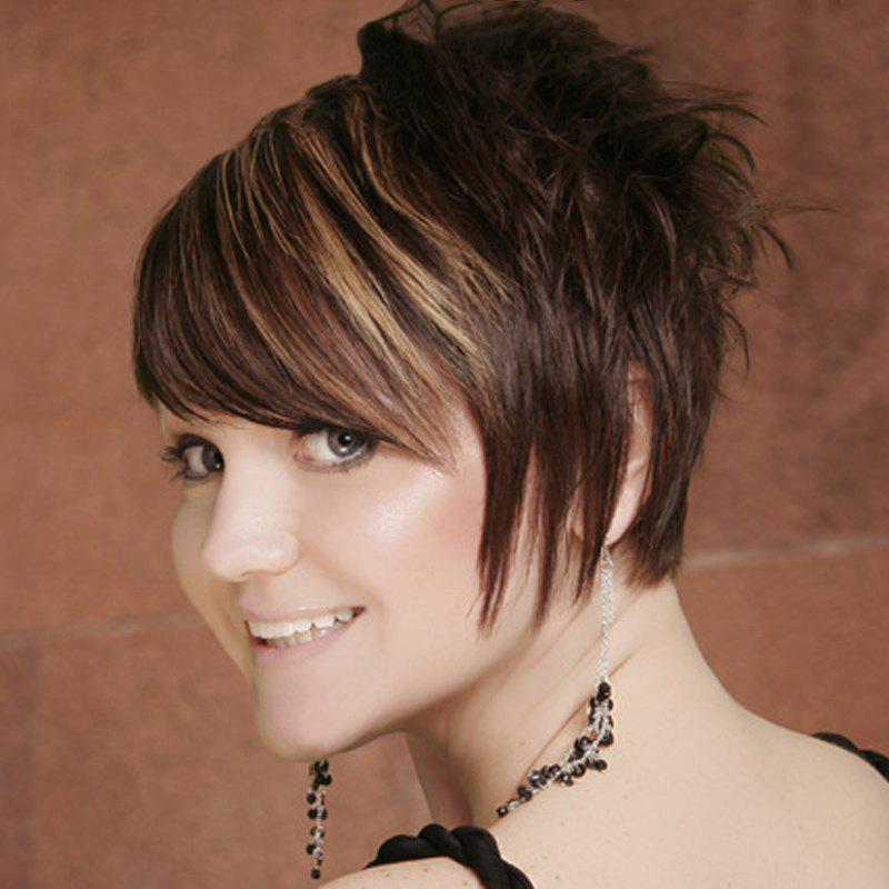 Shaggy Wavy Brown Mixed Synthetic Fancy Short Side Bang Capless Wig For Women - COLORMIX