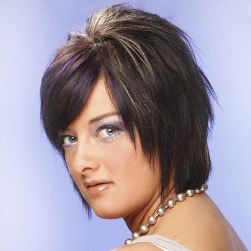 Spiffy Short Side Bang Capless Fashion Purple Highlight Straight Women's Synthetic Wig - COLORMIX