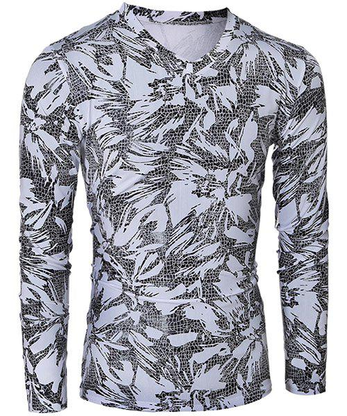 Fashionable V-Neck Printing Design Long Sleeve Mens T-ShirtMen<br><br><br>Size: 2XL<br>Color: WHITE AND BLACK