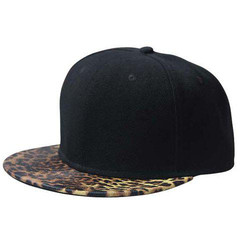Stylish Leopard Pattern Brim Men's Black Baseball Cap - BLACK