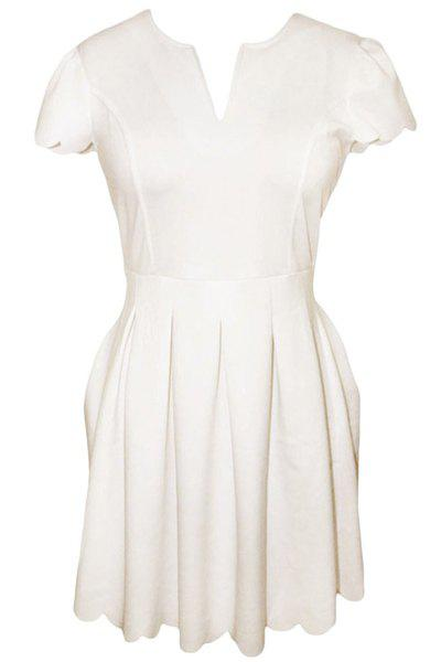 Graceful V-Neck Short Sleeve Solid Color Scalloped Women's Dress - WHITE L