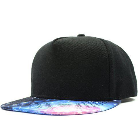 Stylish Universe Pattern Brim Men's Black Baseball Cap