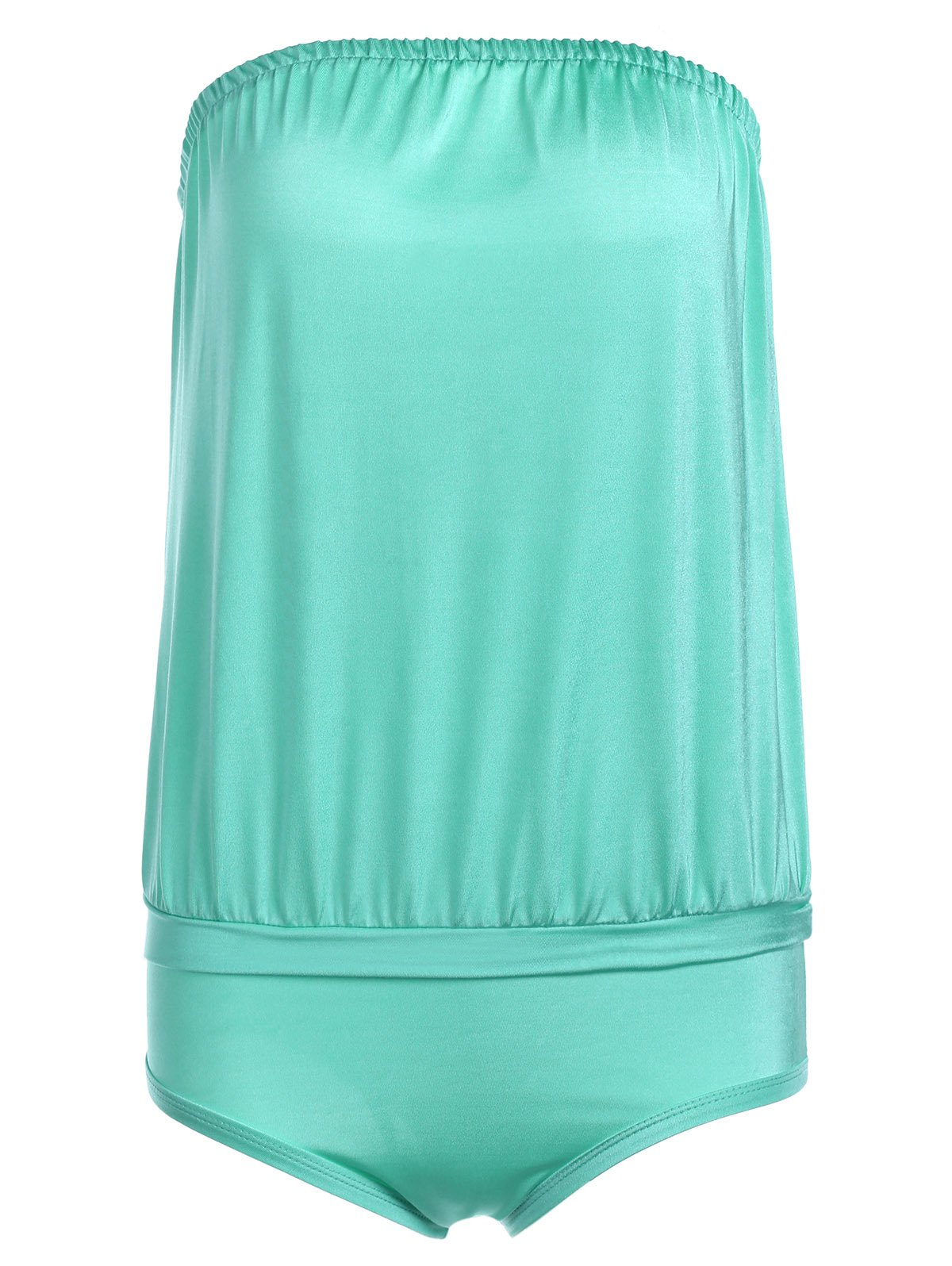 Trendy Candy Color Strapless One Piece Swimwear For Women