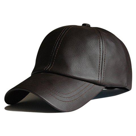 Stylish Solid Color PU Leather Men's Baseball Cap - CHOCOLATE