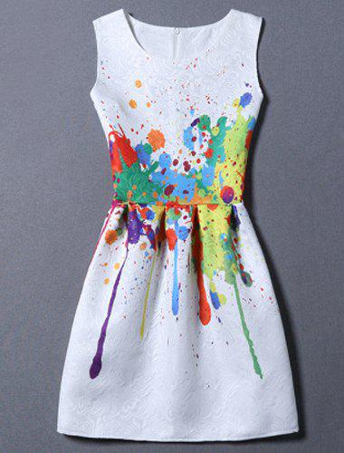 Sweet Round Neck Colorful Print Women's Dress - WHITE M