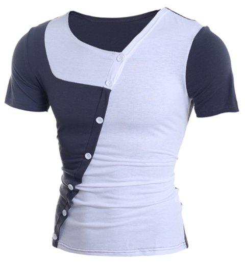 Trendy Button Design Color Splicing Skew Collar Short Sleeve Slimming Polyester T-Shirt - WHITE XL