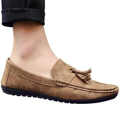 Stylish Stitching and Tassels Design Men's Casual Shoes - LIGHT BROWN 40
