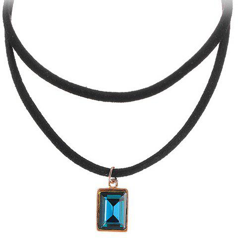 Geometric Multilayered Choker Necklace - BLUE