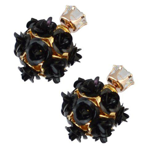 Pair of Rhinestone Double Ended Faux Rose Stud Earrings - BLACK