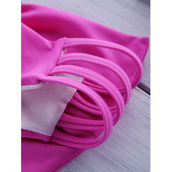 Solide doux style Bikini Slips couleur bowknot embellies femmes - Rose XL