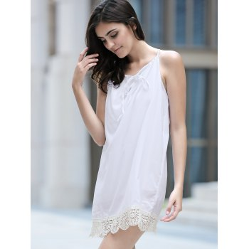 Stylish Halter Sleeveless Lace Splicing Dress For Women