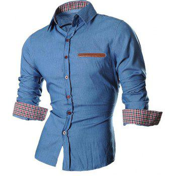 Plaid Design Turn Down Collar Denim Shirts For Men - LIGHT BLUE M