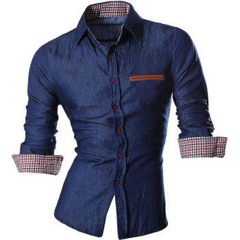 Plaid Design Turn Down Collar Denim Shirts For Men