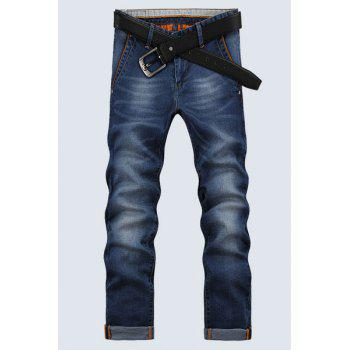 Men's Mid-Waist Zip Fly Denim Cropped Pants - BLUE 32