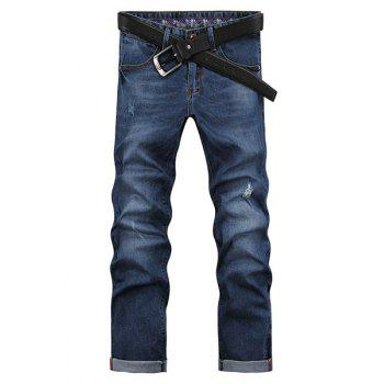 Men's Ripped Zip Fly Denim Cropped Pants