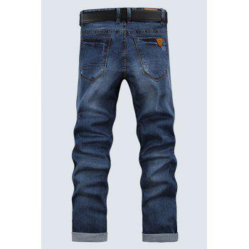 Men's Ripped Zip Fly Denim Cropped Pants - BLUE 33